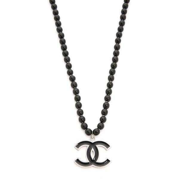 What Goes Around Comes Around Chanel Bead CC Necklace (Previously... (€1.620) ❤ liked on Polyvore featuring jewelry, necklaces, black, pendant jewelry, beaded jewelry, beaded pendant necklace, black enamel necklace and enamel jewelry