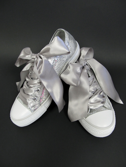 Custom Silver Sequin Wedding Tennies With Ribbon Laces