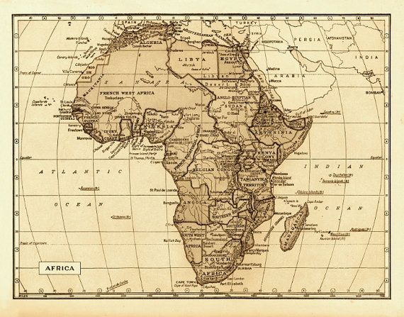 Map of Africa 18x24 Vintage 1800s Archival Reproduction Wall Art
