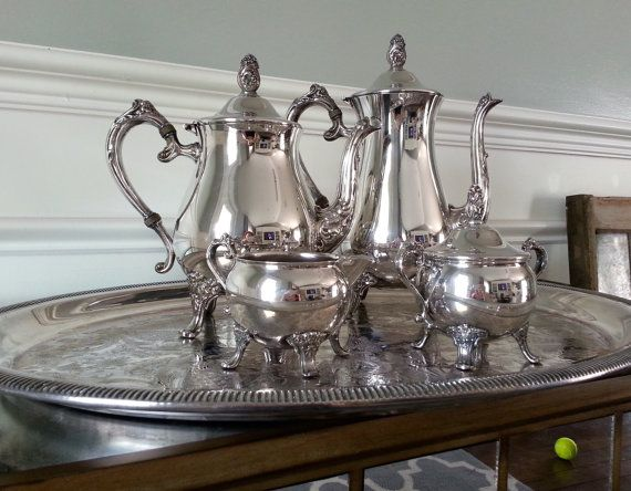 Newport Gorham Silver Plate Tea Set Silver Coffee And Tea