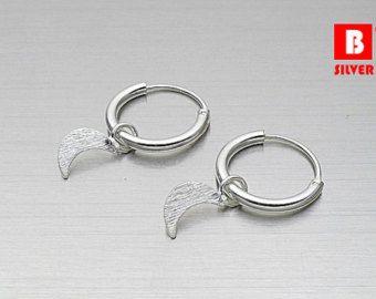 925 Sterling Silver Earrings Hoop Earrings Cross by BSILVER925