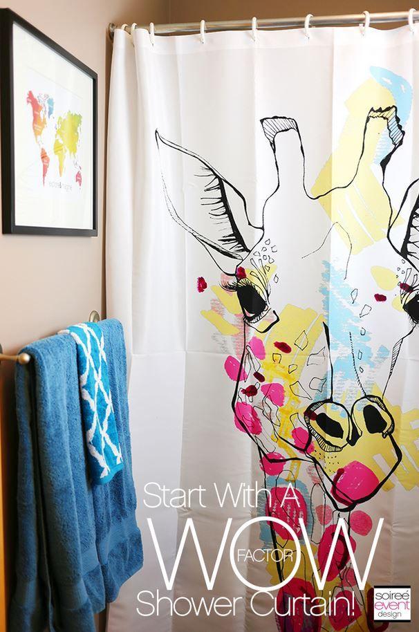 Giraffe Shower Curtain Ivory Deny Designs Giraffe Decor