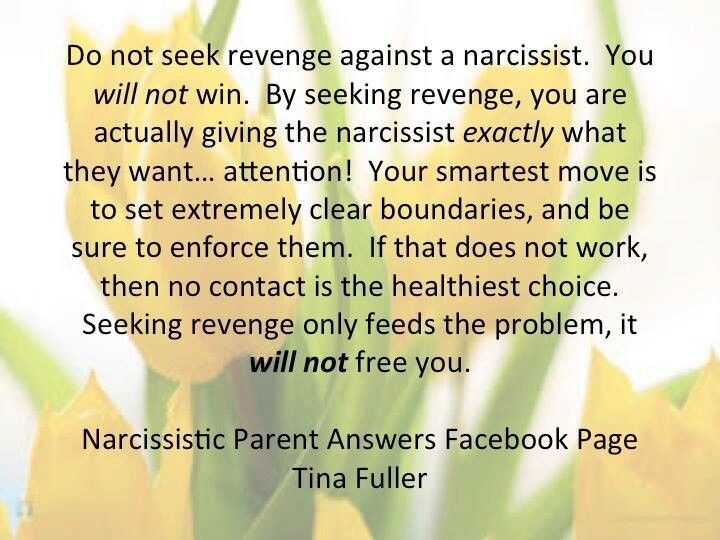 Do not seek revenge against a narcissist  You will not win
