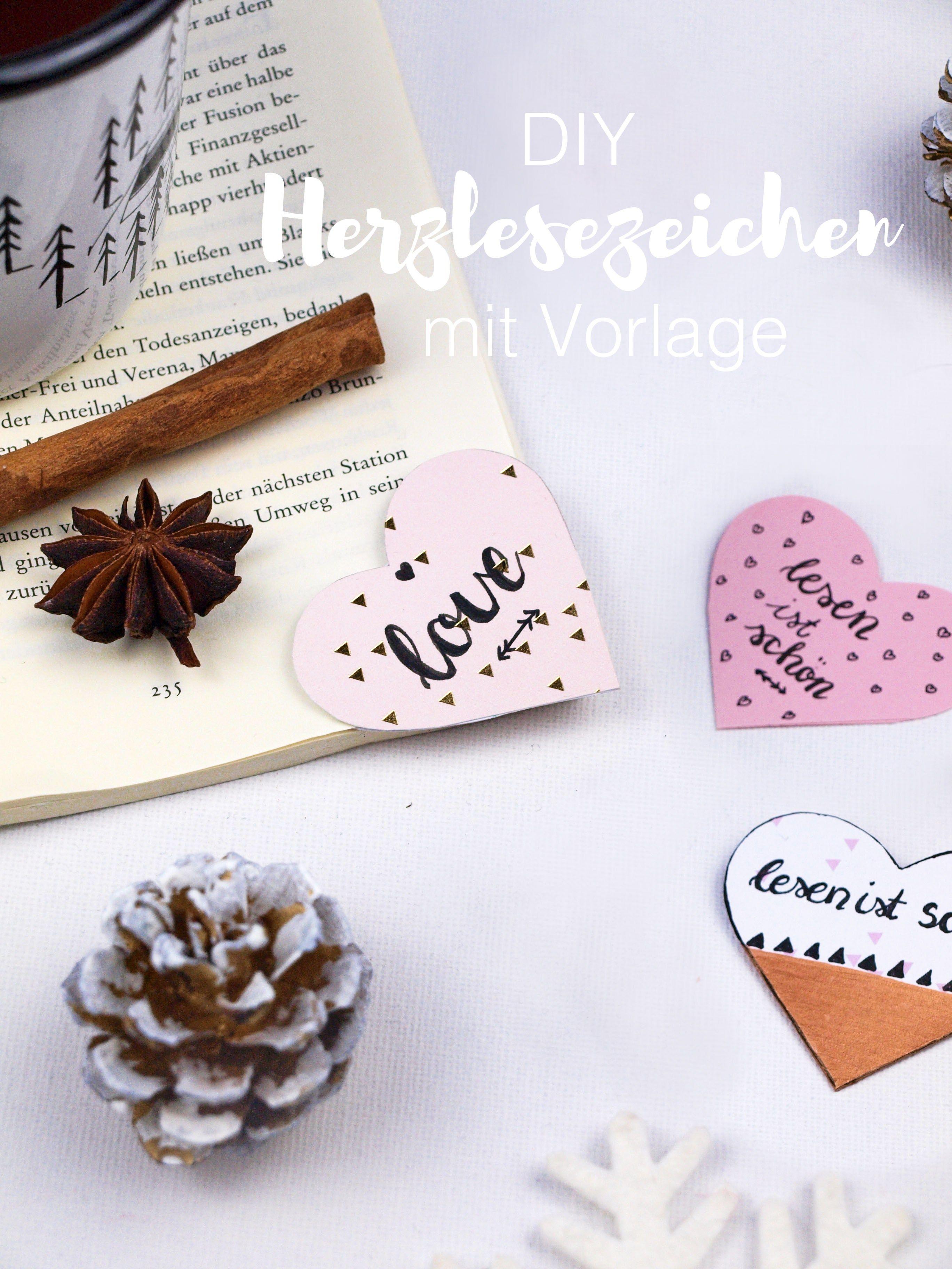 diy geschenkidee: herzlesezeichen aus papier selber machen