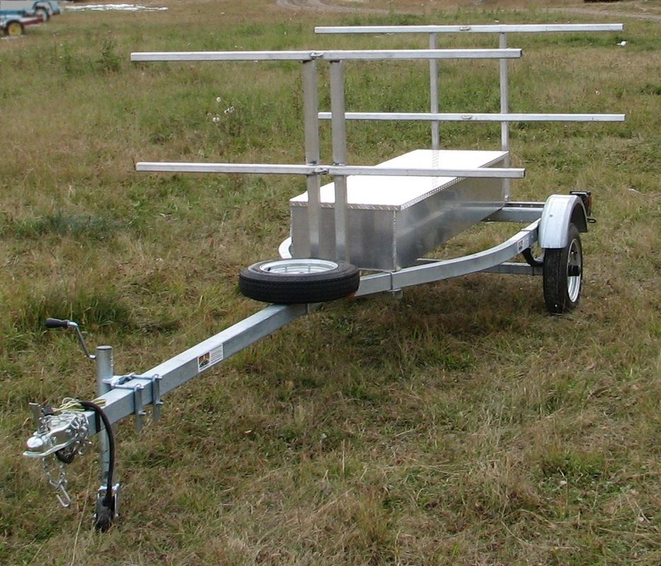 """4 place canoe, 8 place kayak trailer, with aluminum 80"""" storage box - North Woods Sport Trailers"""