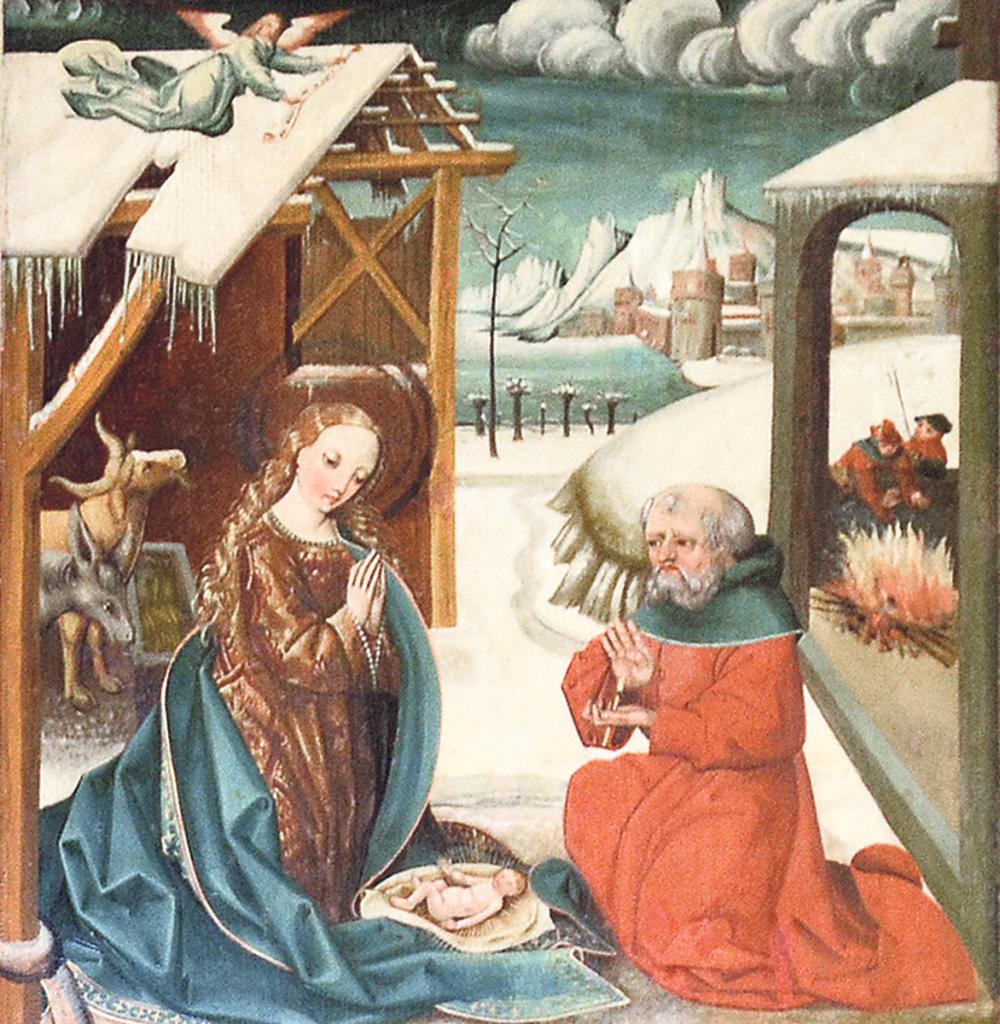 jesu geburt im schnee: altarbild der dorfkirche in