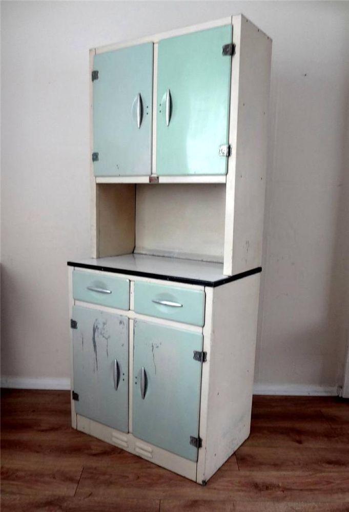 Retro 40s 1950s Vintage Kitchen Aluminium Enamel Larder Unit Dresser Cupboard Kitchen Larder Cupboard Metal Kitchen Cabinets Kitchen Larder