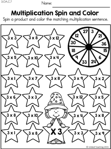 Spin and Color the matching multiplication sentence >> Fun