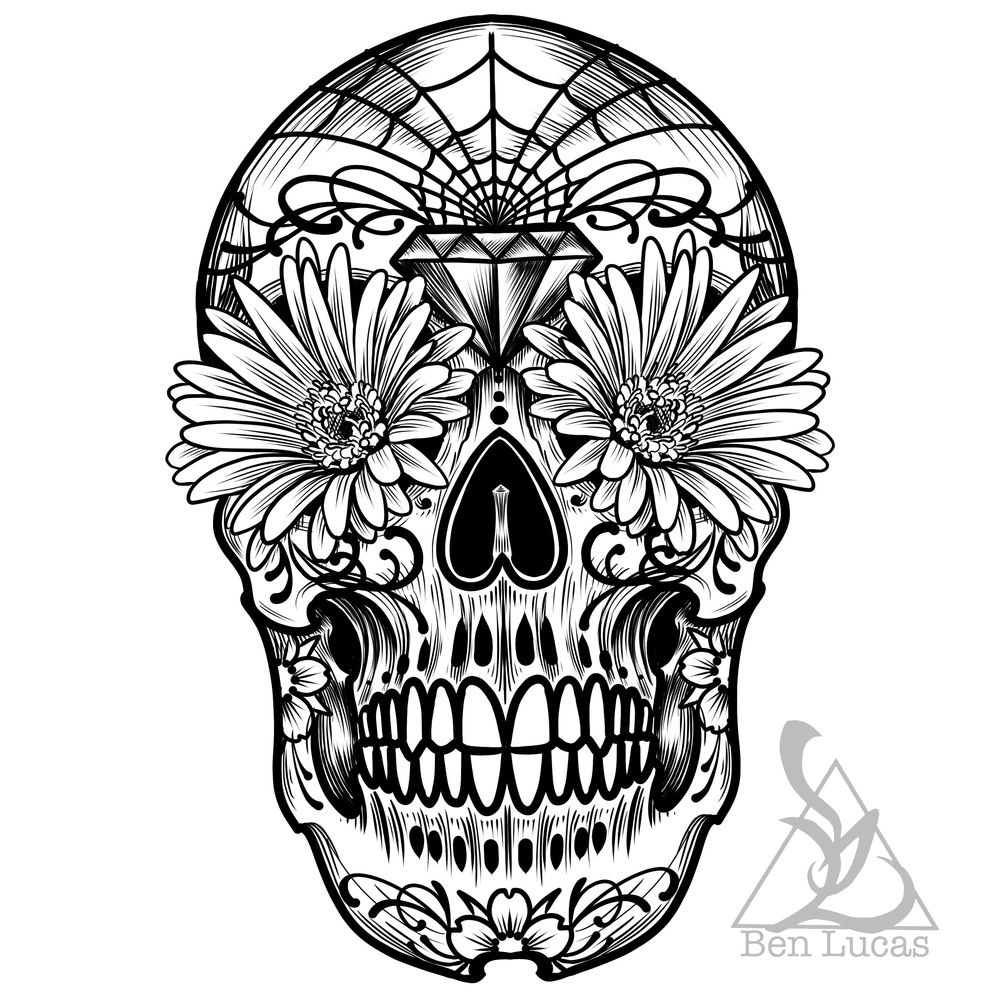 Day of the dead sugar skull black-and-white digital
