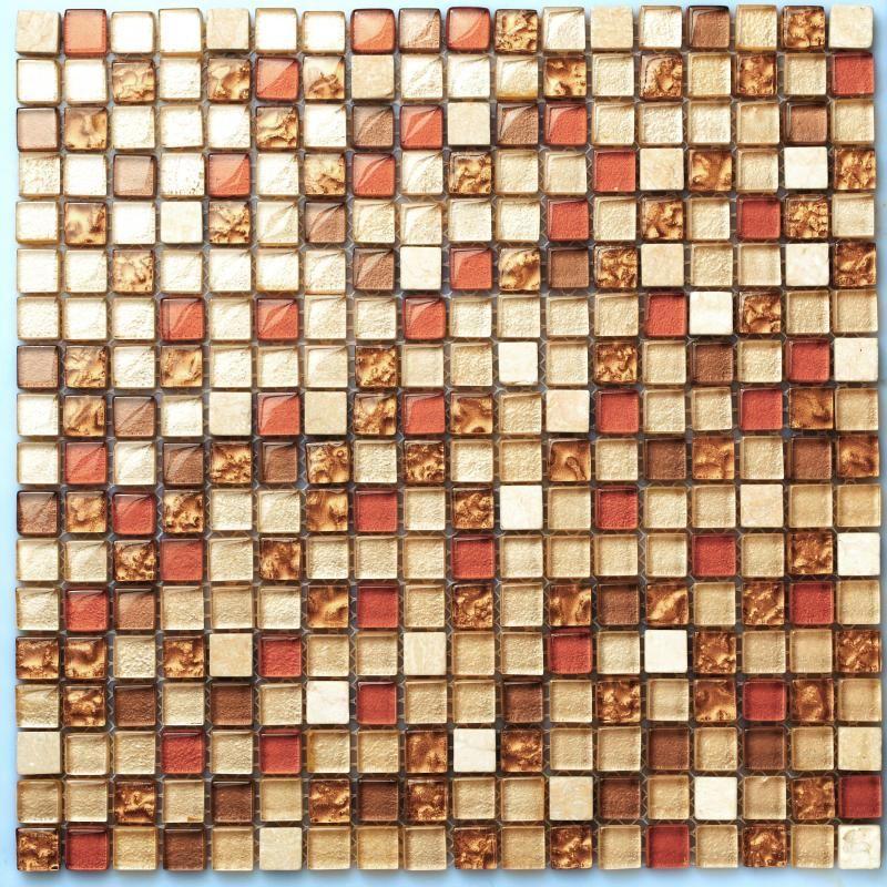Tst Crystal Glass Tiles Malaysia Style Red Orange Grids Backsplash