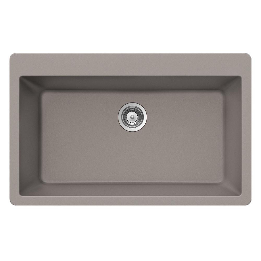 Quartztone in top mount large single bowl sink in taupe brown