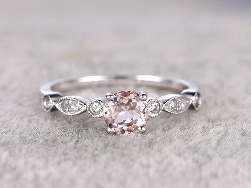 0,5 Karat runder Morganit-Verlobungsring - Diamant-Versprechenring - 14 K ...  #diamant #karat #morganit #runder #verlobungsring #versprechenring #aquamarineengagementring