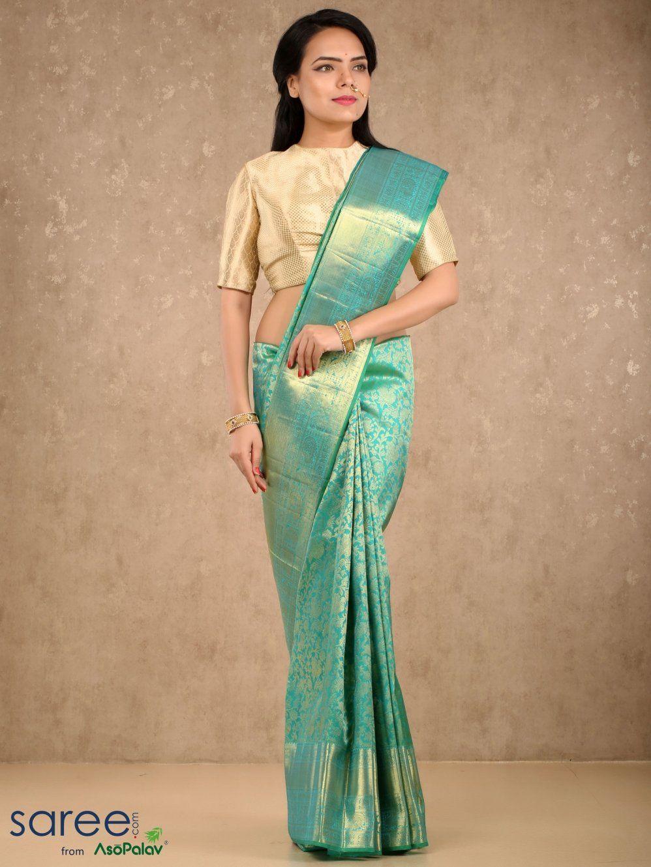 392e64bcf13813 Sea Green Kanchipuram Silk Saree with Weaving By Asopalav