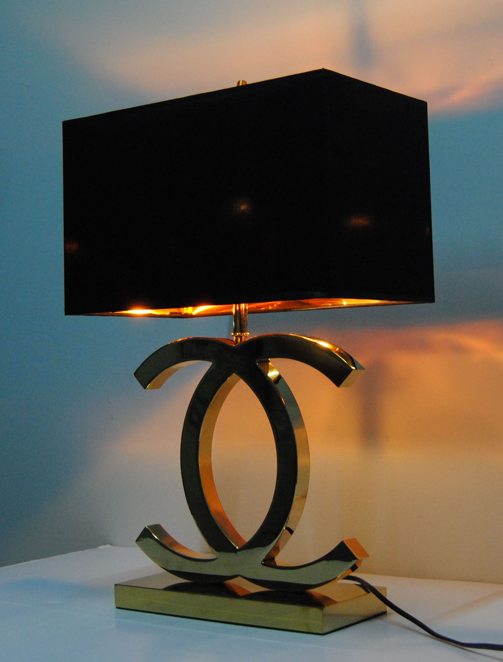 Chanel Lamps, Champagne Gold + Black Lampshade 100 USD Online Sales Cc Dior  Lamp