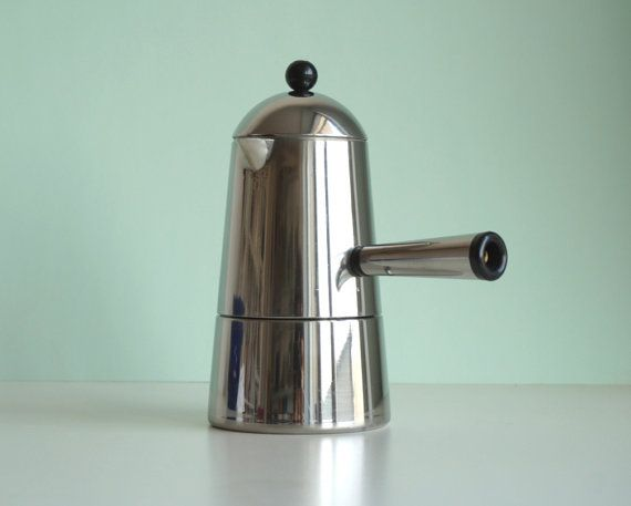 Vintage Italian Stainless Steel Stovetop Espresso By Rosageranio