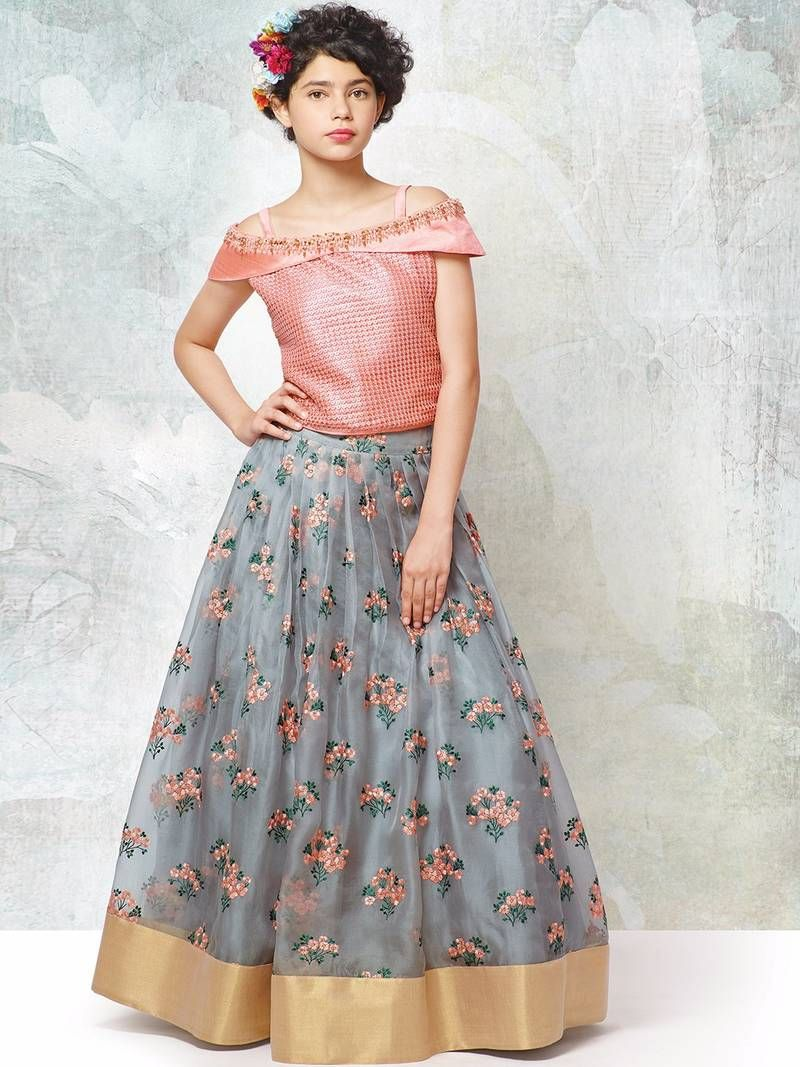 a75d423747e Buy Peach an grey silk with organza fabric embroidery flaired wedding wear lehenga  choli for girls wear Online
