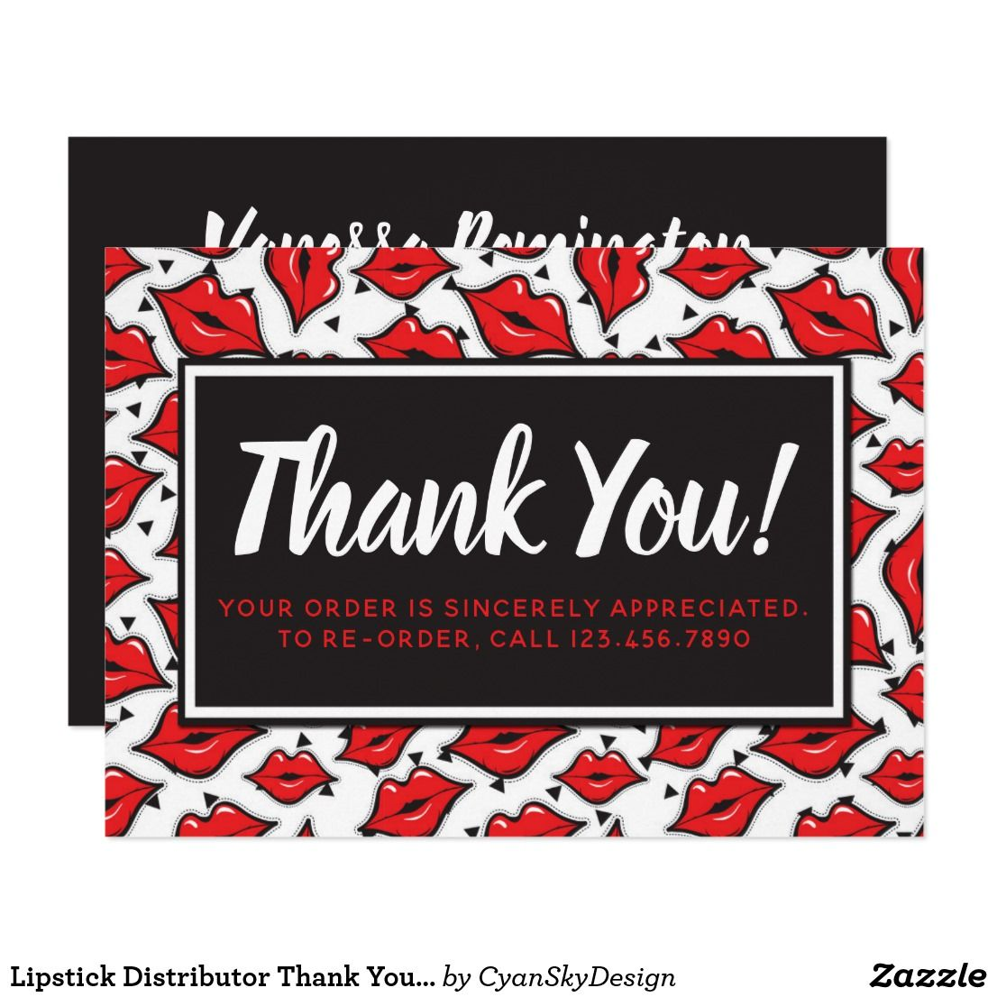 Lipstick Distributor Thank You Red Lips Kiss Card Lipsense