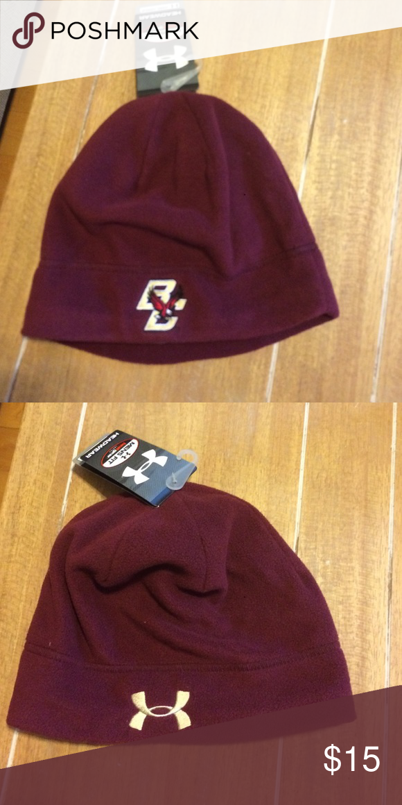 NWT under armour heat gear Arctic beanie Soft fleece outside lined inside  Boston College hat a1341b303886