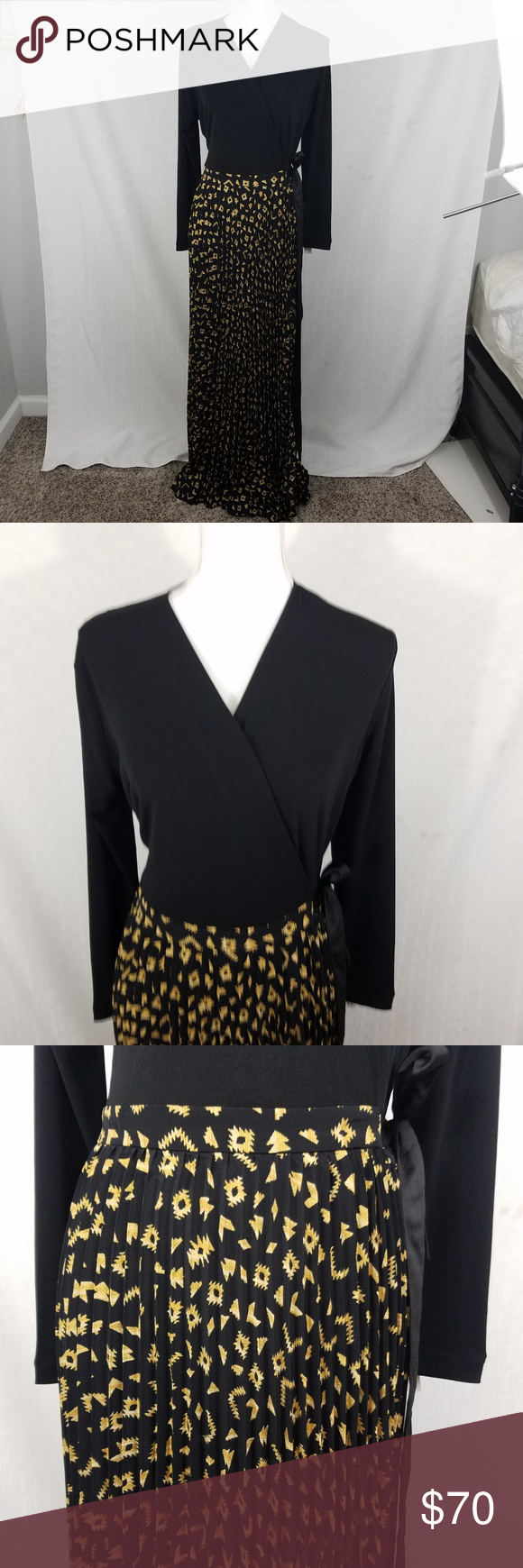 Lularoe deanne wrap dress maxi elegant gown gold m beautiful lularoe