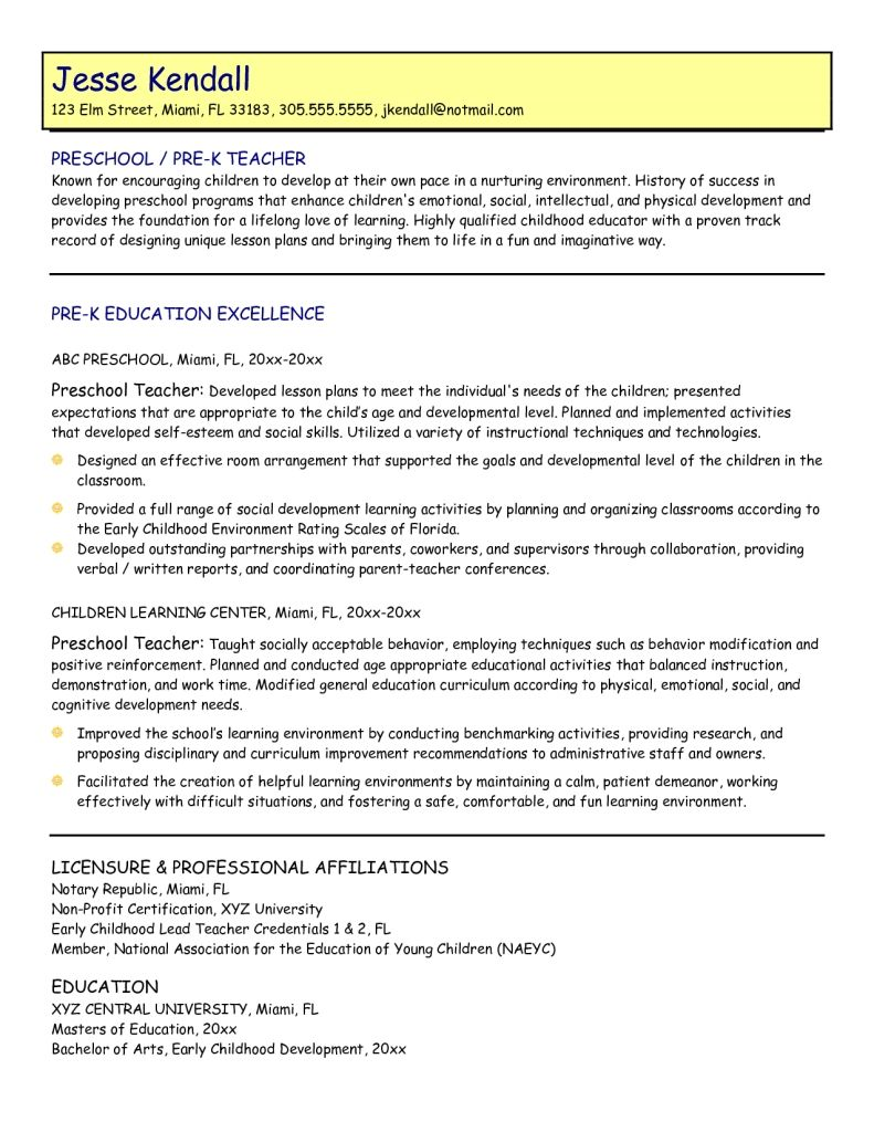 sample resume for early childhood teacher