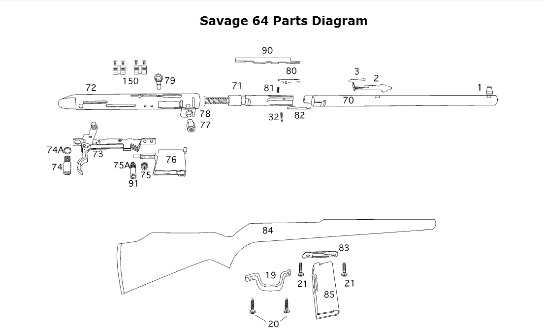 Savage 64 Exploded View | My Gun Cabinet | Pinterest | Guns