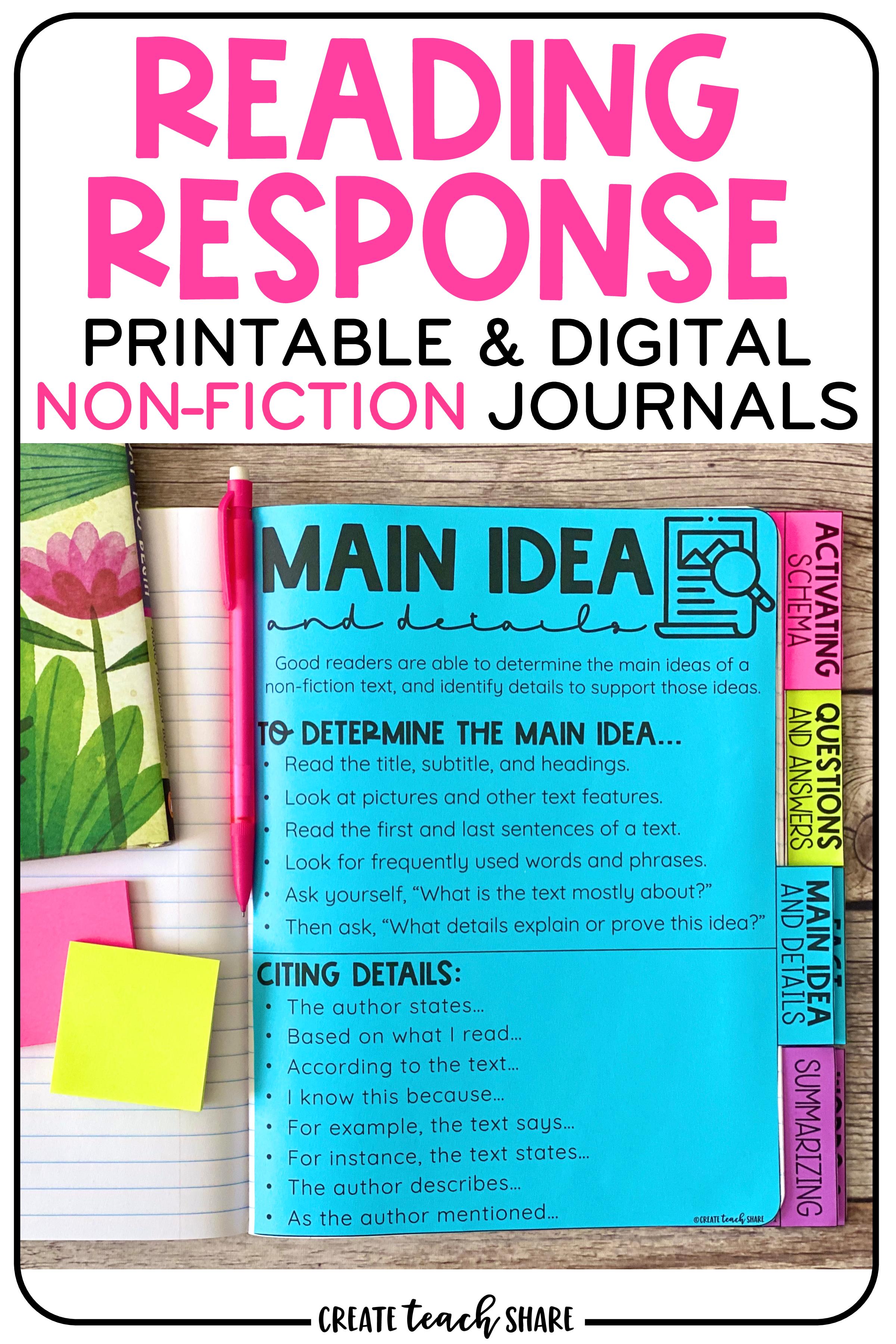 Nonfiction Reading Response Journals