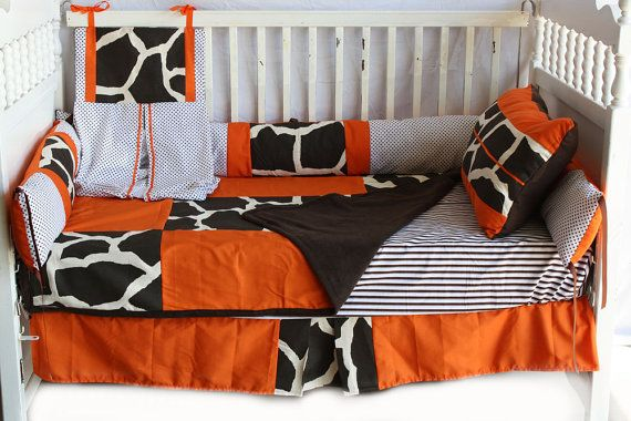 4 pc Brown /orange Giraffe Baby bedding set by bedbugscreations, $299.00
