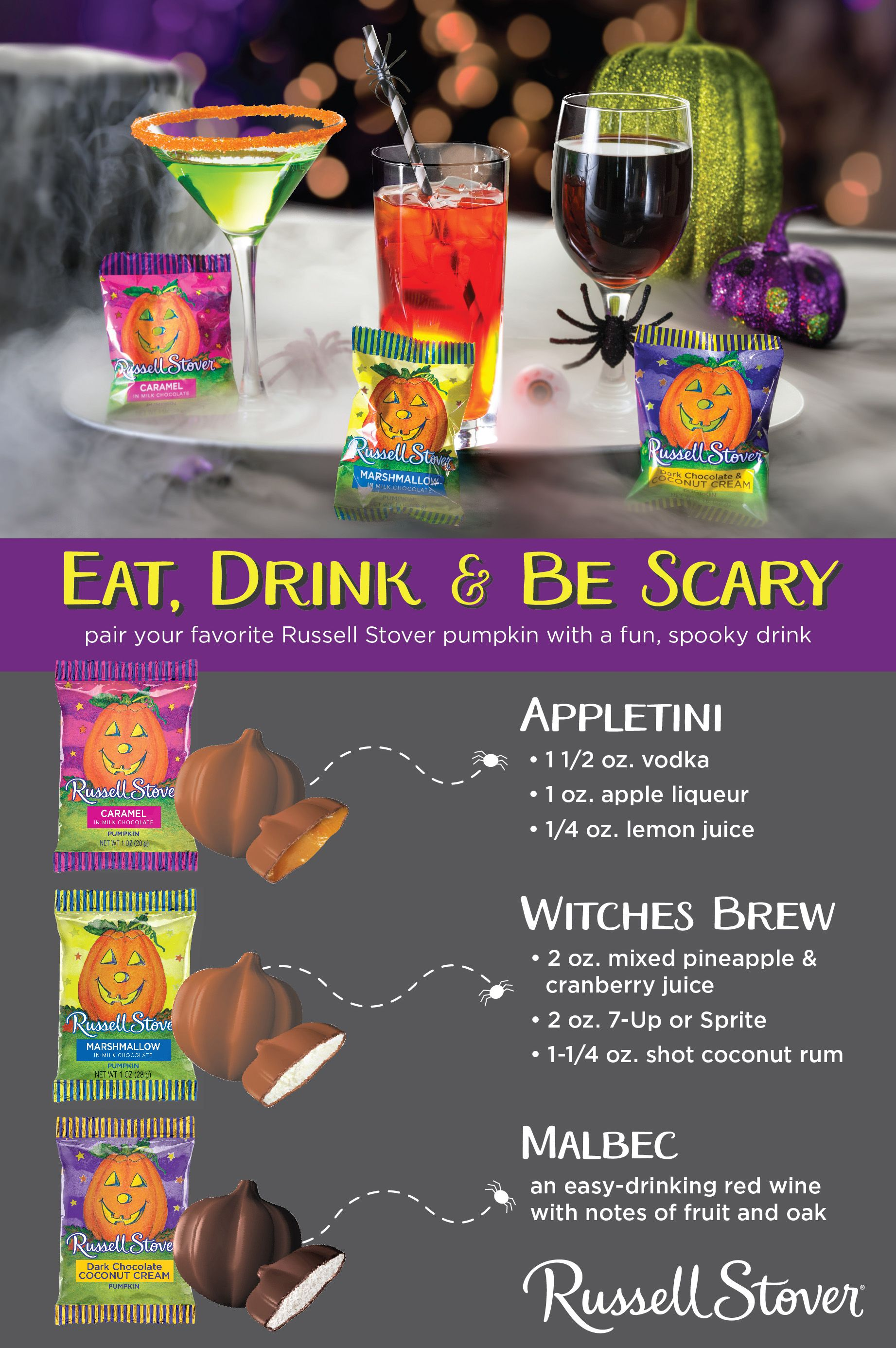try out one of these spooky russell stover drink pairings at your