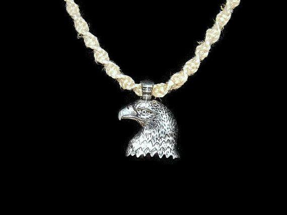 Bald Eagle Head Hemp Spiral Necklace  on 20 Inch Necklace