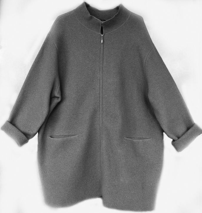 EILEEN FISHER Boiled Wool Coat Felted Jacket Black Bouclé Zip Blanket  Cocoon 1X #EileenFisher #
