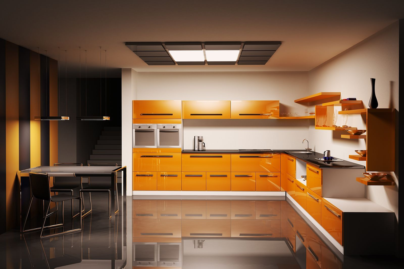 Kitchen : Modern Kitchen Cabinet Design Completed With Sink And Combined  With Dining Area Sets And Fascinating I Shaped Kitchen Layout Applying  White And ...