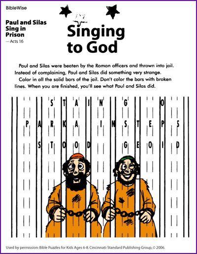 Paul Silas Sing In Prison Kids Korner Biblewise Sunday