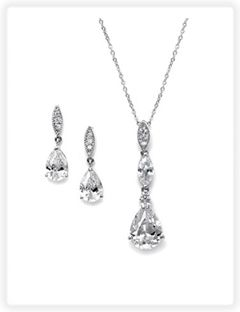 cz bridal necklace and earring set