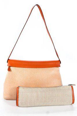cd02163a3593 Hermes Orange Beige Buffalo Leather Dalmatian Yeoh Handbag