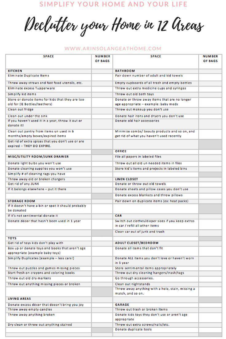 Printable Declutter Checklist   Declutter checklist, Declutter ...