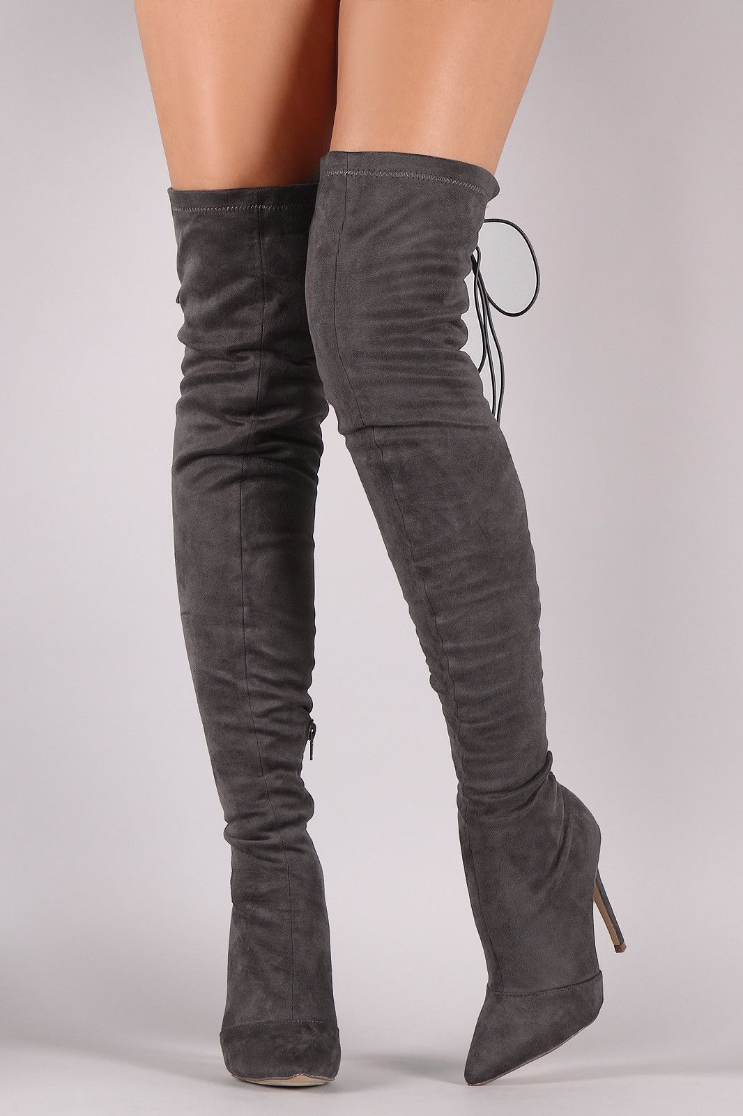 5ee255649d1 Suede Back Studded Lace Up Pointy Toe Boots | High thigh boots ...
