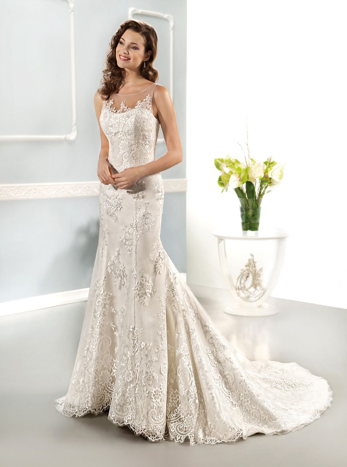 2014 Cosmobella. All lace fit and flare with illusion