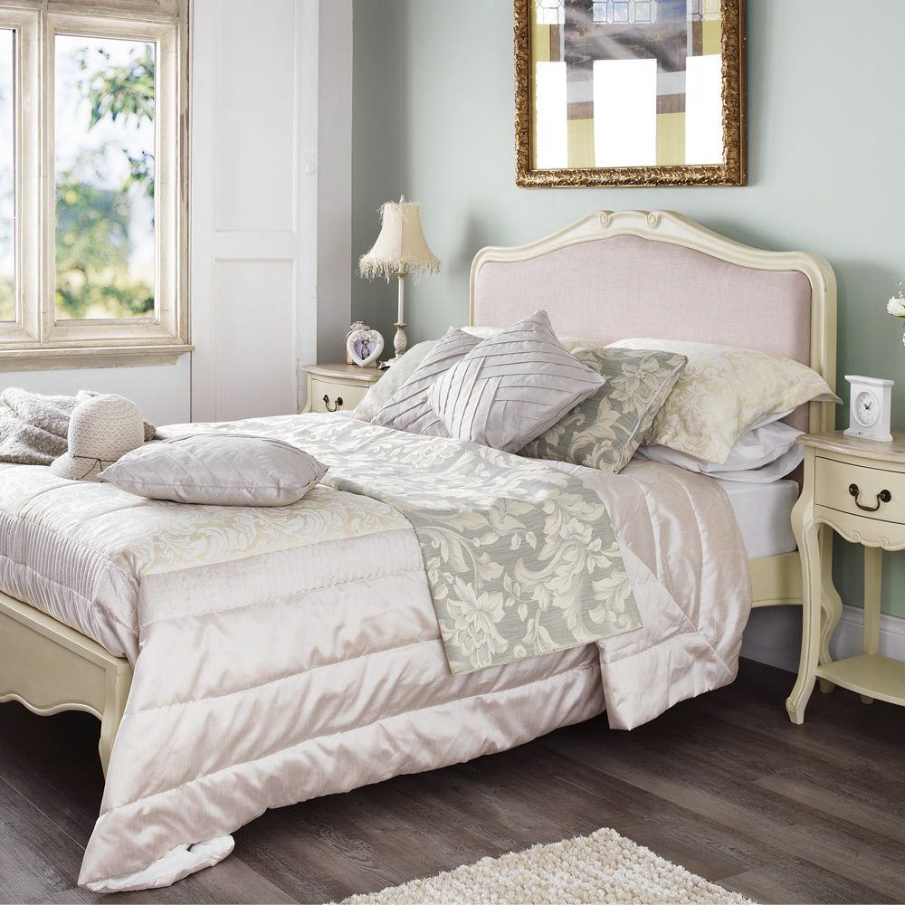 offwhite paint with purple/gray fabric. Bedroom. Minimalist Shabby