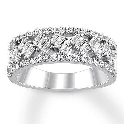 Diamond Anniversary Ring 7 8 Cttw Baguette Round 14k White Gold