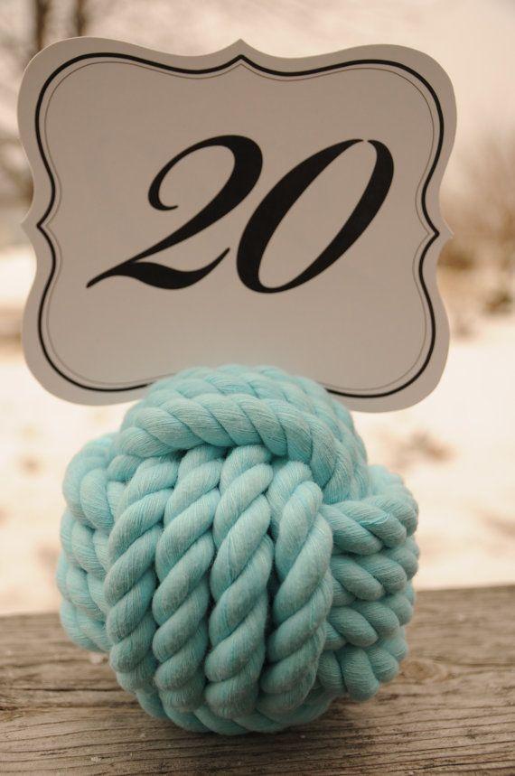 Aqua Wedding - Nautical Wedding - Aqua Cotton Rope Knots - Beach Wedding - Nautical Decor - (this is for 20 knots)