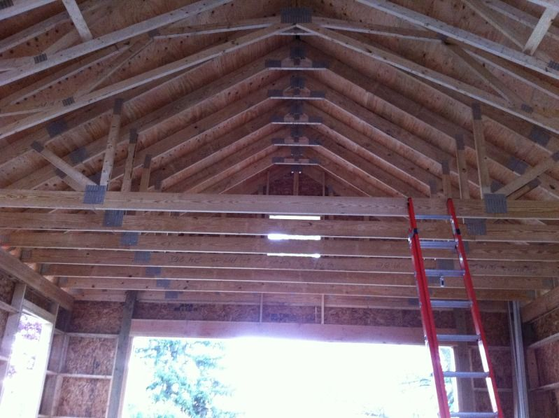 My 24 X 32 2 Car Garage Build The Garage Journal Board Garage Design Cathedral Ceiling Roof Trusses