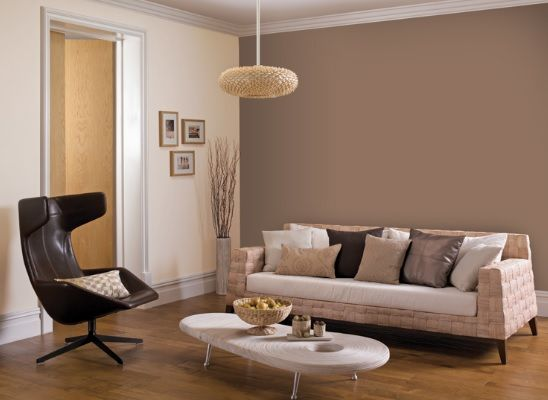 Brown Feature Wall I Would Like This More If Some Artwork Was Hung On The Wall Living Room Color Schemes Living Room Color Living Room Colors