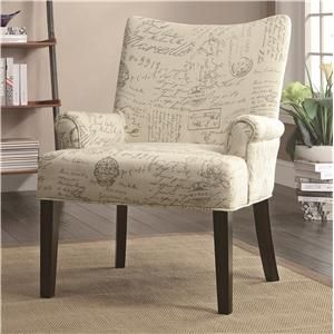 Accent Seating French Script Pattern Accent Chair This print without arms for a desk chair