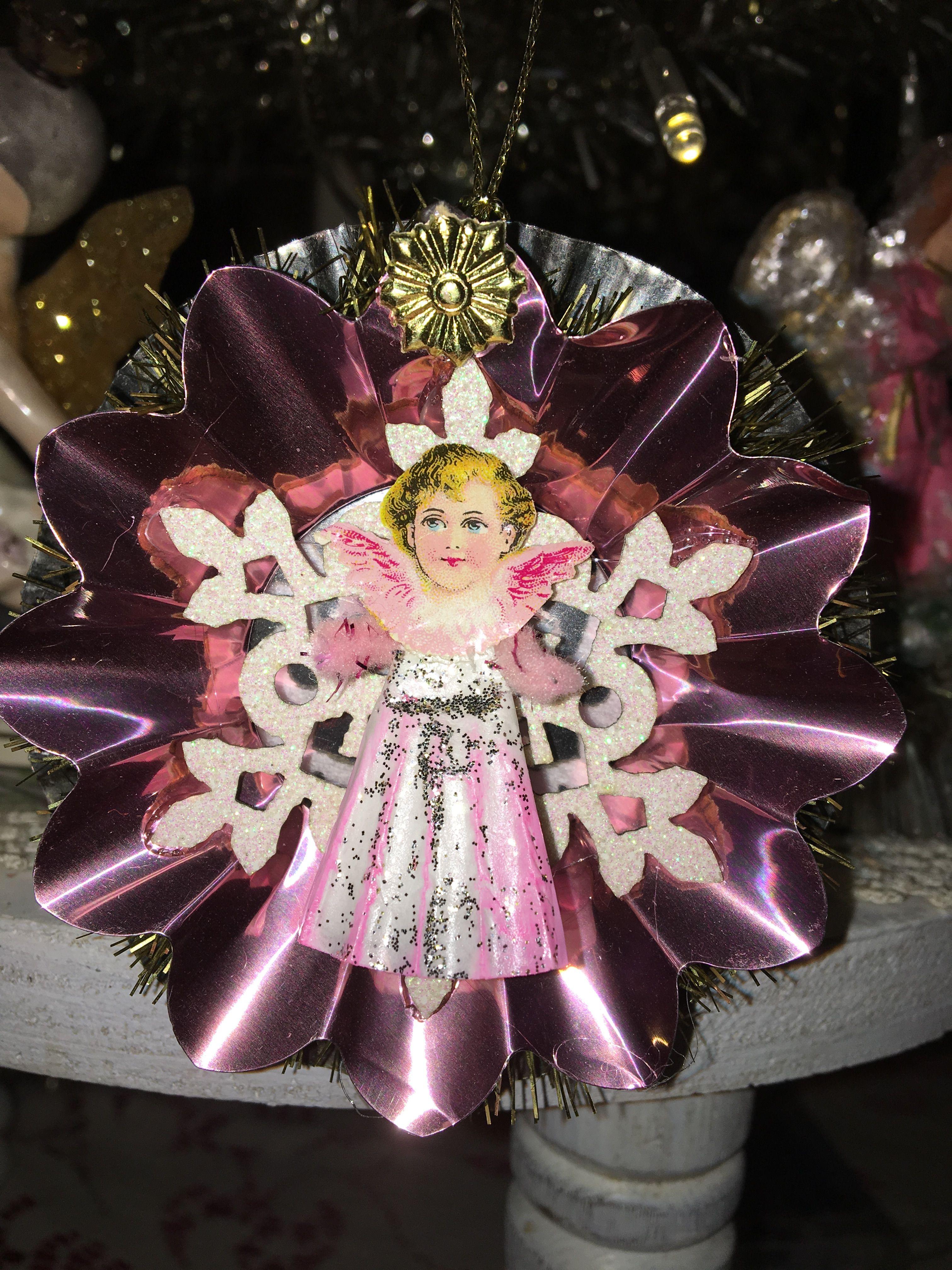 Handmade German Scrap Angel reflector Ornament by Jeanette Crooks