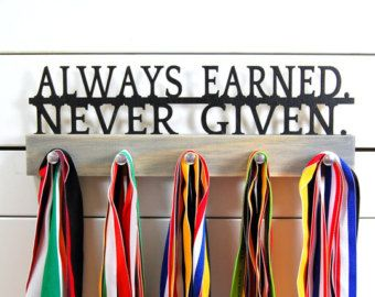 Medal Rack Always Earned Never Given Metal Hook to by SportHooks