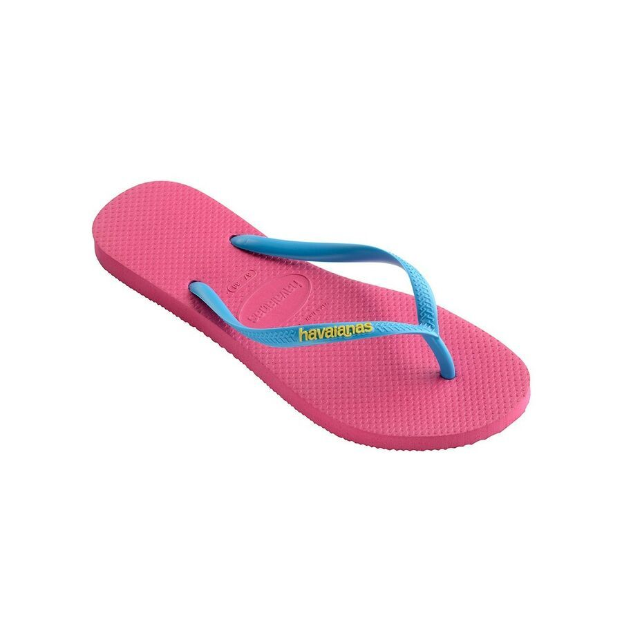 Havaianas Womens Slim Logo Pop Up Blue Flip Flops