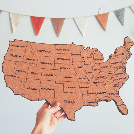 Us Map On Cork Board United States Corkboard Map with State Names USA Cork Map Hand