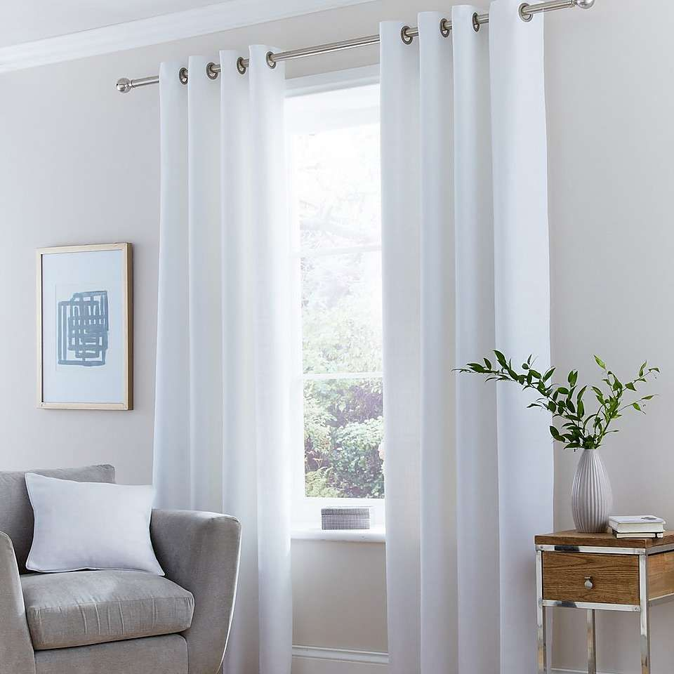 Dunelm Fully Lined White Vermont Eyelet Curtains Vermont Blue Lounge And Bedrooms