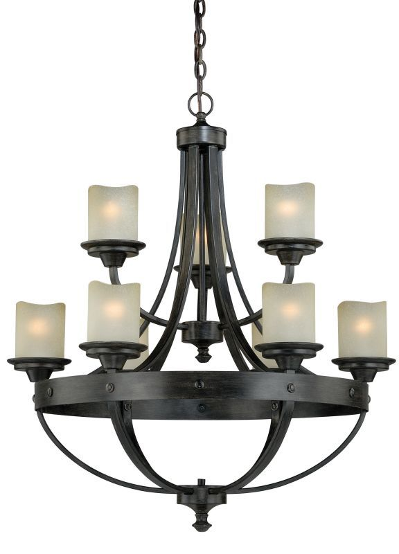 Vaxcel Lighting H0158 Halifax 9 Light Chandelier With Cylinder Shaped Frosted Gl Black Walnut Indoor Chandeliers
