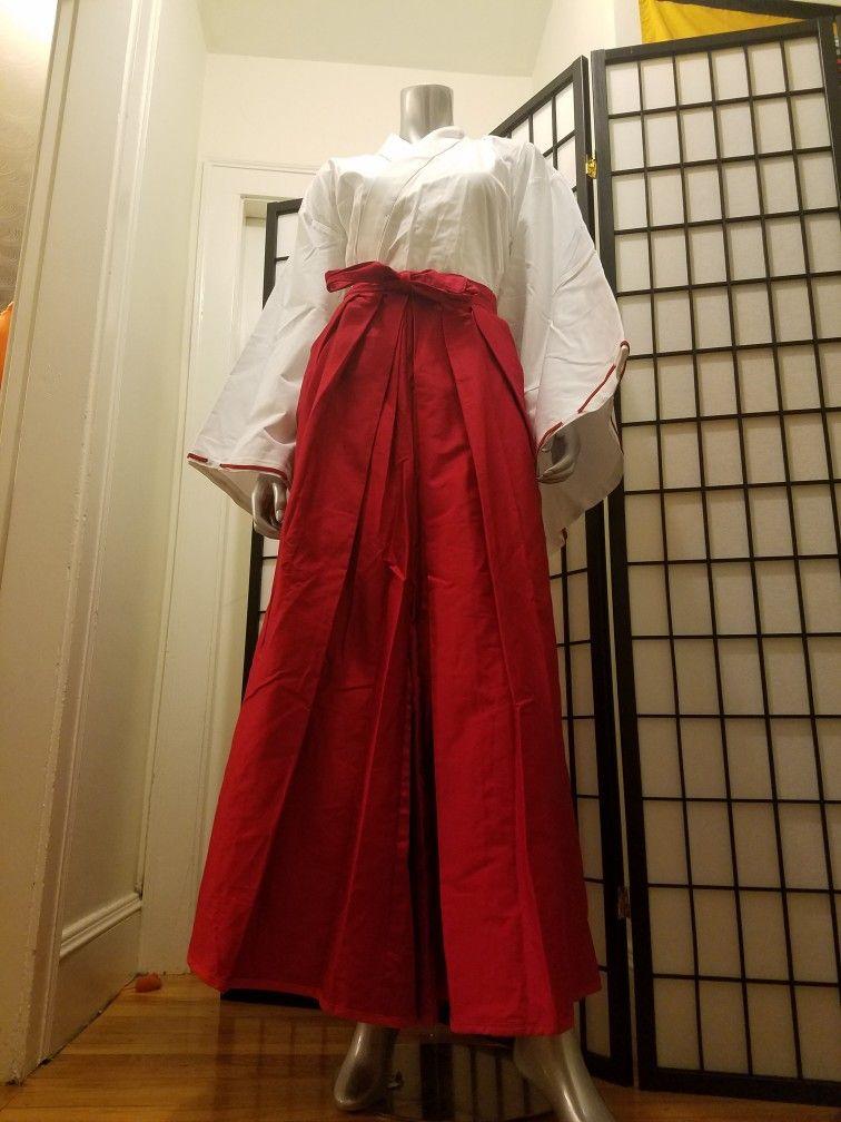 Inuyasha Cosplay Costume Shrine Maid Kikyo Miko Kimono Women Party Suit